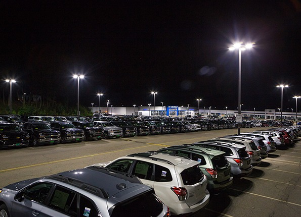 LightMart Poles and LED Fixtures at a Chevrolet Automobile Dealership