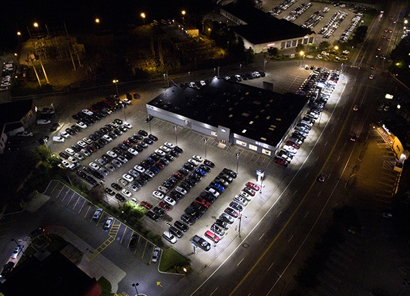A Ford Car Dealership at Night, Featuring LightMart Light Pole Kits