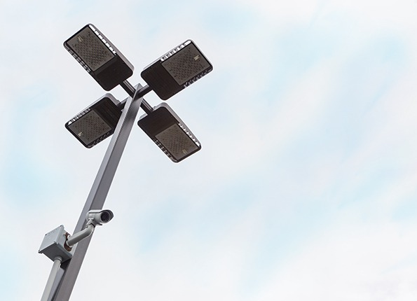 LightMart Square Pole with LED Fixture and Security Camera