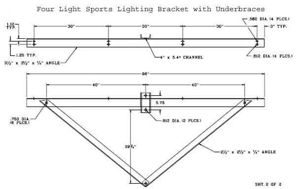 Four Light Sports Lighting cket with Underces on