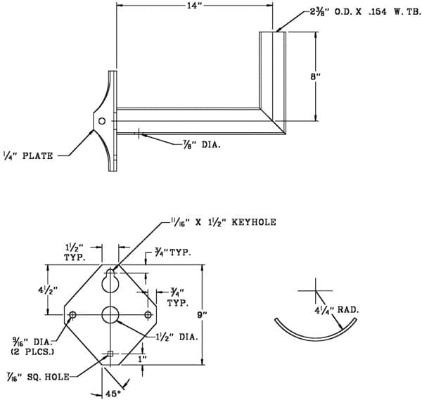 Right Angle bracket WPB1144 Dimensional Drawing